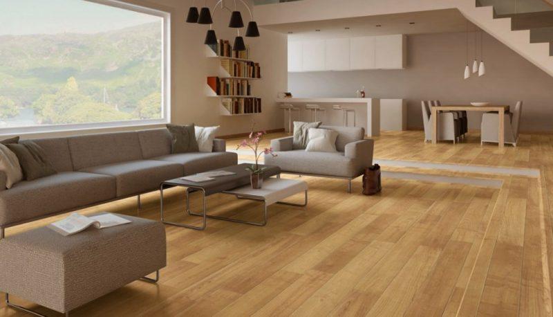 Không gian sàn gỗ trong gia đình